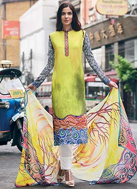 Lime Green Digital Printed Straight Pant Suit