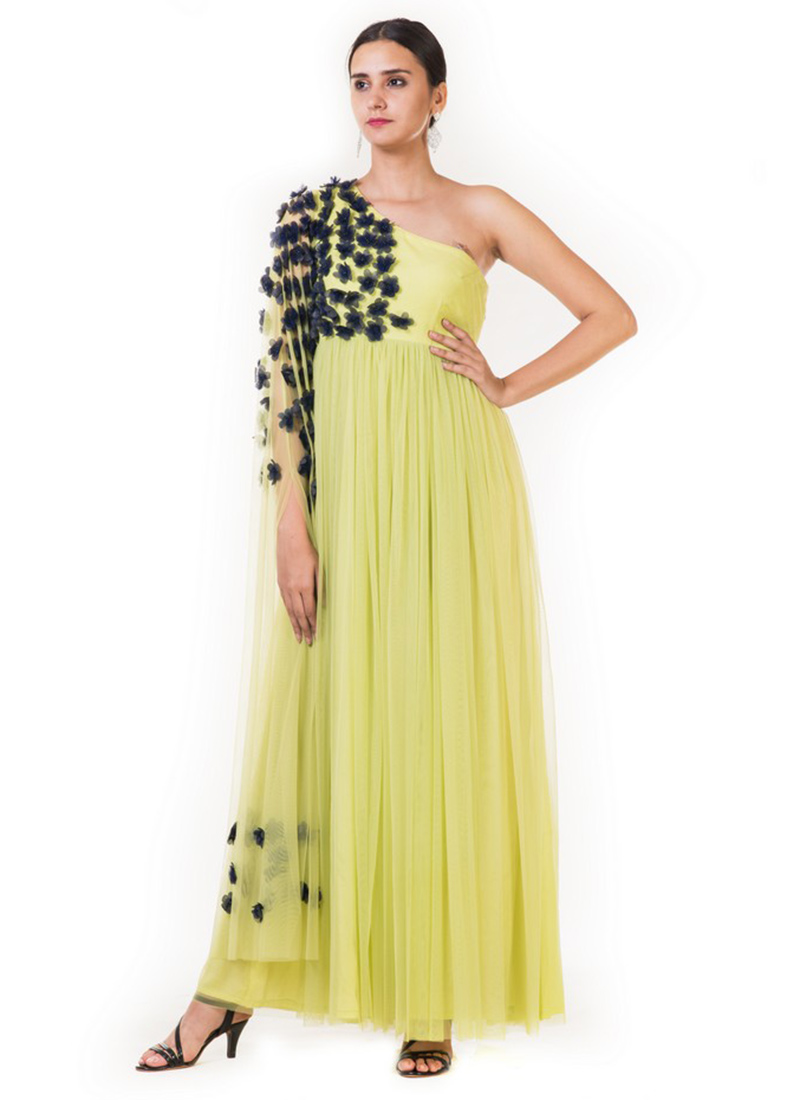 Buy Lime Green Embroidered One Shoulder Gown, Embroidered, dresses ...