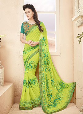 Lime Green Georgette Saree