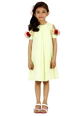 Lime Green Linen Kids Dress