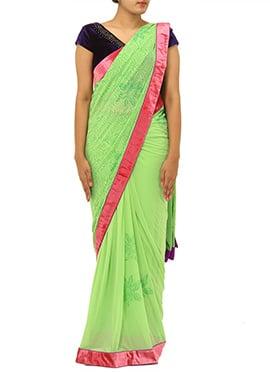 Lime Green Lycra Net Ready Pleated Saree
