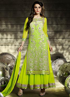 Lime Green Net A Line Lehenga Choli