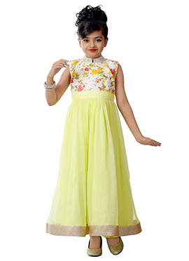 Lime Green Net N Art Silk Kids Anarkali Gown