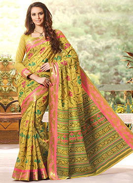 Lime Yellow Gadwal Silk Printed Foliage Designed Saree