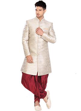 Linen Off White Indowestern Sherwani