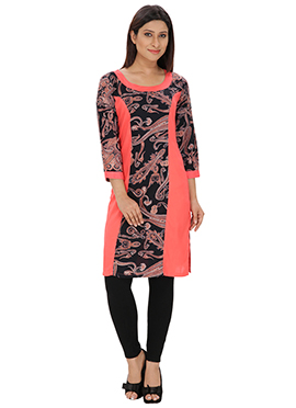 Lingra Black N Peach Viscose Short Kurti