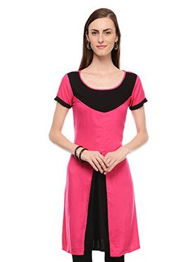 Lingra Black N Pink Printed Kurti