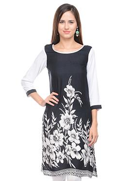 Lingra Black N White Printed Kurti