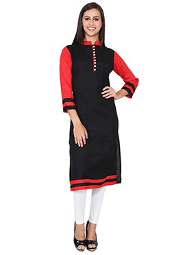 Lingra Black Viscose Long Kurti