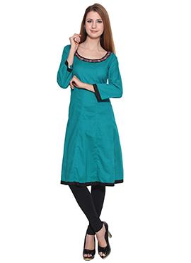 Lingra Dark Turquoise Green Anarkali Kurti