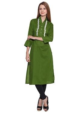 Lingra Green Viscose Kurti