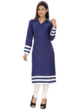 Lingra Navy Blue Viscose Long Kurti