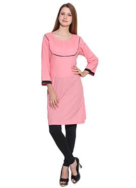 Lingra Peachish Pink Viscose Short Kurti