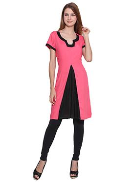 Lingra Pink N Black Viscose Tunic