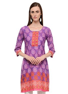 Lingra Purple Printed Kurti