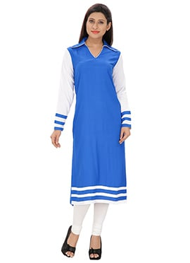Lingra Royal Blue Viscose Long Kurti