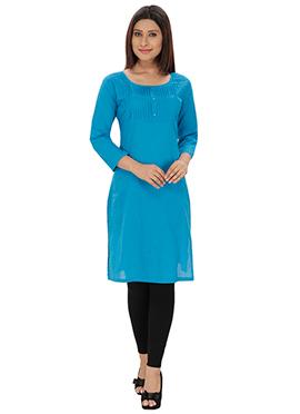 Lingra Viscose Turquoise Blue Short Kurti