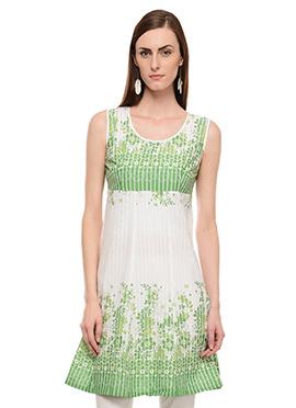 Lingra White N Green Printed Kurti