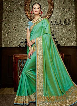 Liril Green Art Silk Border Saree