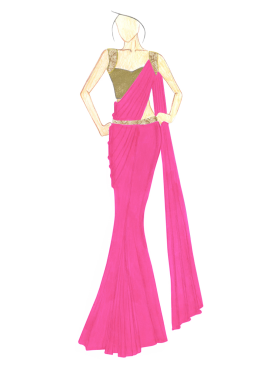 Love Potion Georgette saree with Gold Shimmer Blouse