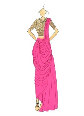 Love Potion PInk Georgette Pre Draped Saree