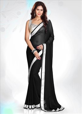 Lovely Black Georgette Saree