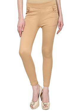Lycra Cotton Beige Straight Pant