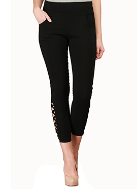Lycra Cotton Black Straight Pant