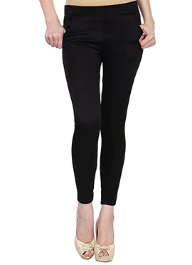 Lycra Cotton Black Straight Pant