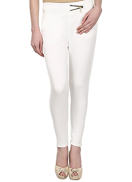 Lycra Cotton Off White Straight Pant