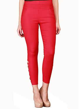 Lycra Cotton Red Straight Pant