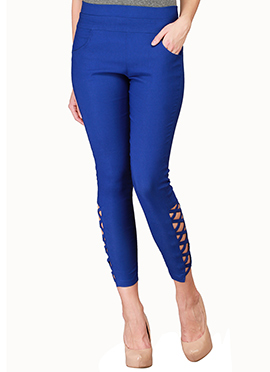 Lycra Cotton Royal Blue Straight Pant
