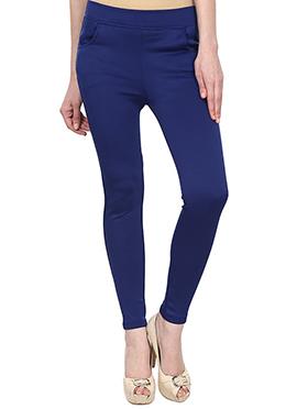 Lycra Cotton Royal Blue Straight Pant
