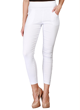 Lycra Cotton White Straight Pant
