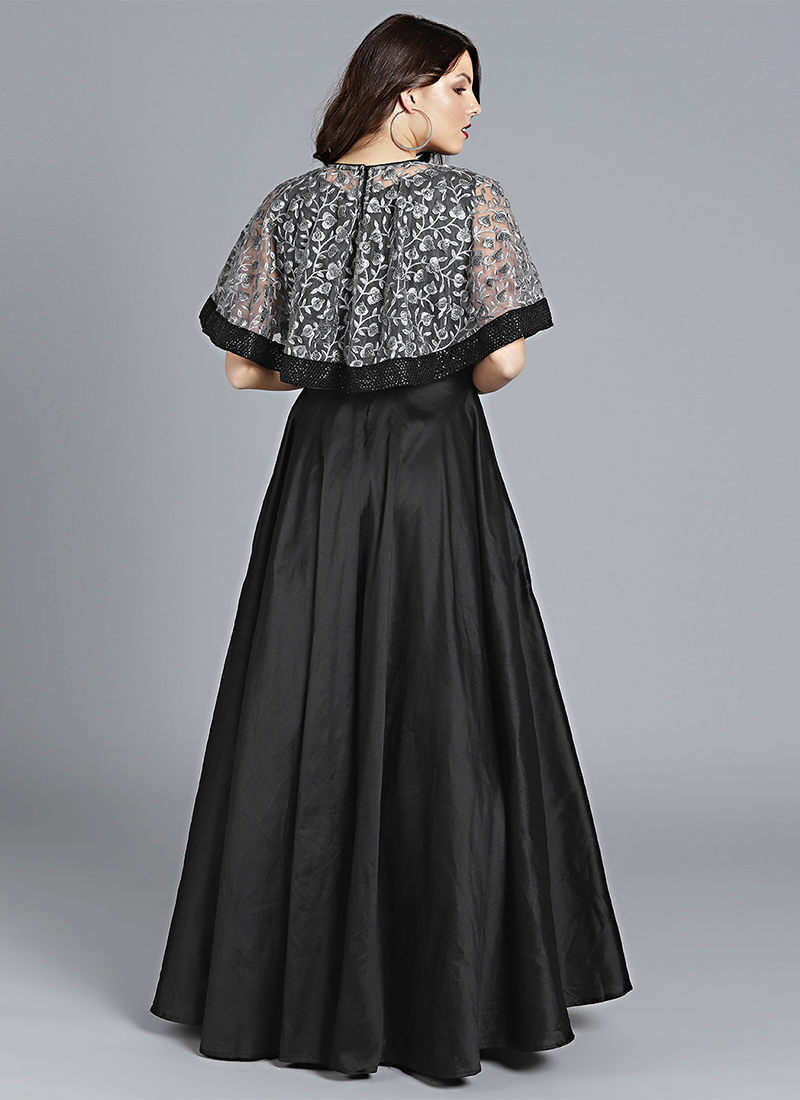 Buy Made To Measure Grey Embroidered Cape Style Gown, Sequins ...
