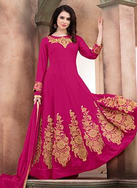 Magenta Abaya Style Anarkali Suit