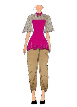 Magenta Art Dupion Silk Bell Sleeve Top N Dhoti Set