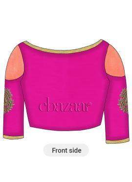 Magenta Art Dupion Silk Cold Shoulder Embroidered Blouse
