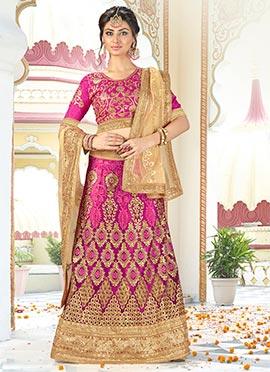 Magenta Art Silk A Line Lehenga Choli