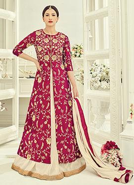 Gauhar Khan Magenta Art Silk A Line Lehenga