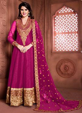 Magenta Art Silk Abaya Style Anarkali Suit