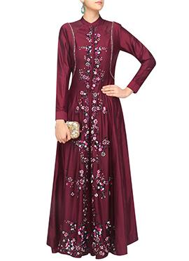 Magenta Art Silk Anarkali Gown