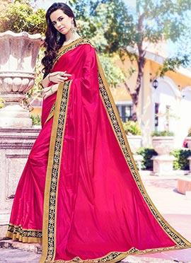 Magenta Art Silk Border Saree