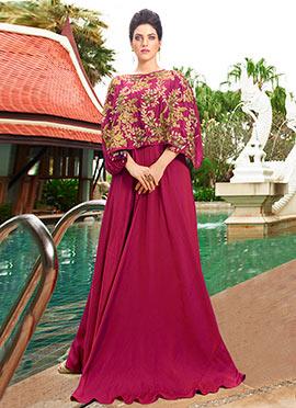 Magenta Art Silk Cape Style Anarkali Gown