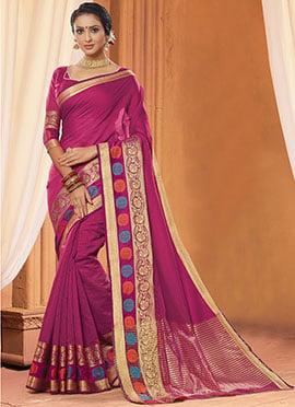 Magenta Art Silk Cotton Saree