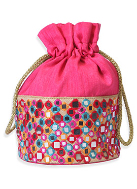 Magenta Art Silk Embroidered Potli Bag