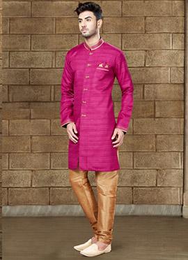 Magenta Art Silk Indowestern Sherwani