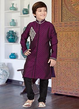 Magenta Art Silk Kids Kurta Pyjama