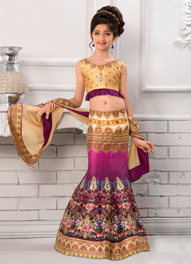 Magenta Art Silk Kids Lehenga