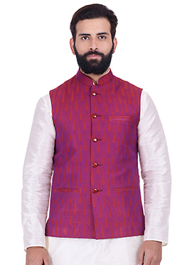 Magenta Art Silk Nehru Jacket